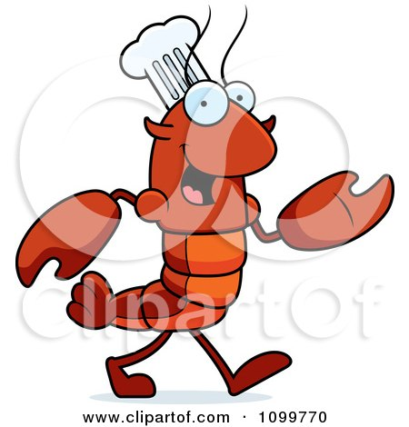 Clipart Walking Chef Lobster Or Crawdad Mascot Character - Royalty Free Vector Illustration by Cory Thoman