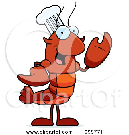 Clipart Waving Chef Lobster Or Crawdad Mascot Character - Royalty Free Vector Illustration by Cory Thoman