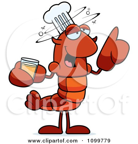 Clipart Drunk Chef Lobster Or Crawdad Mascot Character - Royalty Free Vector Illustration by Cory Thoman