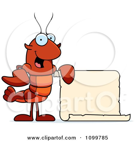 Clipart Lobster Or Crawdad Mascot Character Holding A Sign - Royalty Free Vector Illustration by Cory Thoman