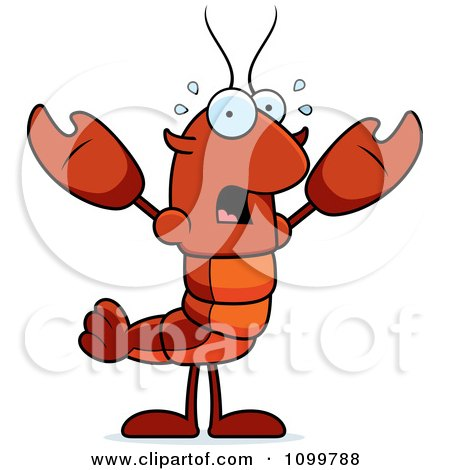 Clipart Scared Lobster Or Crawdad Mascot Character - Royalty Free Vector Illustration by Cory Thoman
