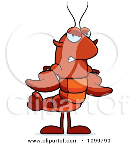 Clipart Mad Lobster Or Crawdad Mascot Character - Royalty Free Vector Illustration by Cory Thoman