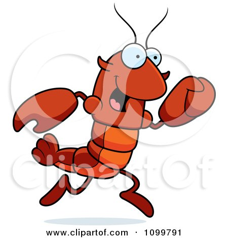 Clipart Running Lobster Or Crawdad Mascot Character - Royalty Free Vector Illustration by Cory Thoman