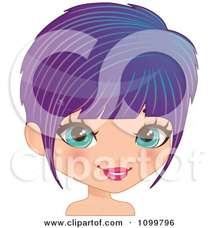 Clipart Pretty Blue Eyed Woman With A Purple Bob Cut Hair And Blue Streaks - Royalty Free Vector Illustration by Melisende Vector