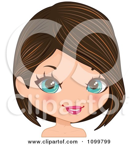 Clipart Pretty Blue Eyed Woman With A Brunette Bob Cut Hair And Streaks - Royalty Free Vector Illustration by Melisende Vector