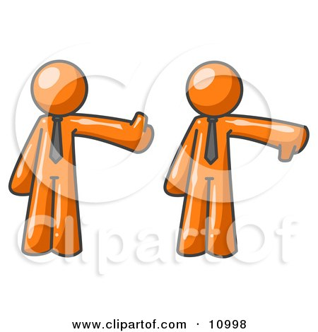 Expressive Orange Business Man Giving the Thumbs Up Then the Thumbs Down Clipart Illustration by Leo Blanchette
