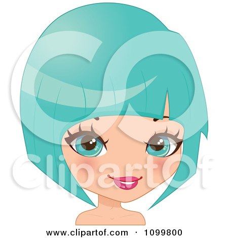 Clipart Pretty Blue Eyed Woman With A Turquoise Bob Hair Cut Or Wig - Royalty Free Vector Illustration by Melisende Vector