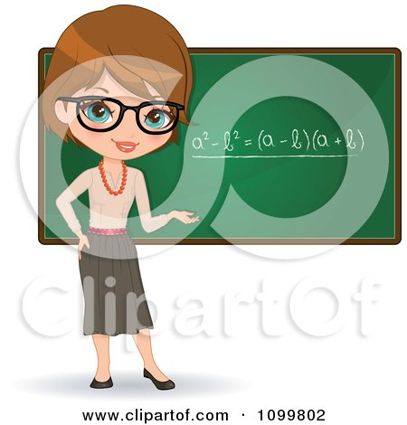 Clipart Friendly Brunette Female Math Teacher With Glasses Presenting A Chalkboard - Royalty Free Vector Illustration by Melisende Vector