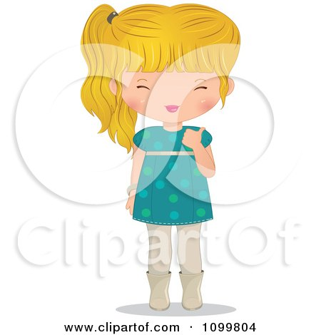 Clipart Happy Blond Girl In A Turquoise Dress Holding A Thumb Up - Royalty Free Vector Illustration by Melisende Vector