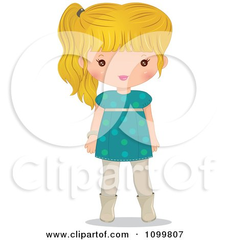 Clipart Blond Girl In A Turquoise Dress - Royalty Free Vector Illustration by Melisende Vector