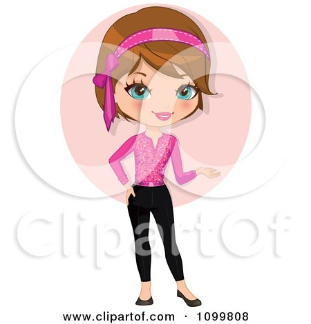 Clipart Pretty Brunette Woman In Pink Presenting With Her Hand - Royalty Free Vector Illustration by Melisende Vector