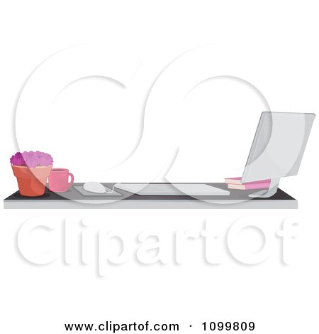 Mac Desktop Computer And Desk Office Border Or Website Banner Posters, Art Prints
