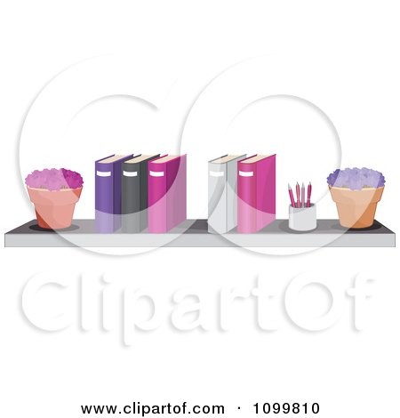 Clipart Potted Plants A Pencil Cup And Office Binders On A Shelf - Royalty Free Vector Illustration by Melisende Vector