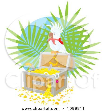 Clipart Cockatoo Perched On A Treasure Chest Full Of Gold - Royalty Free Vector Illustration by Alex Bannykh