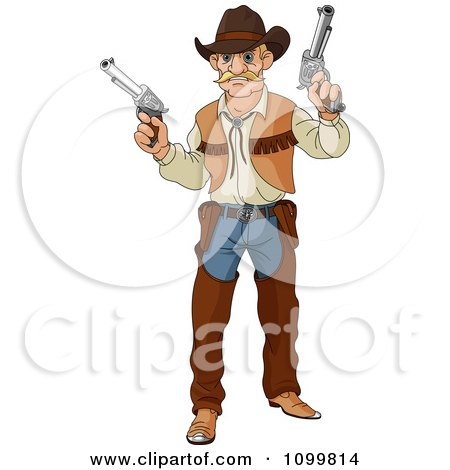 Clipart Blond Wild Western Cowboy Vigilante Holding Two Guns - Royalty Free Vector Illustration by Pushkin