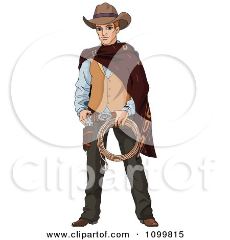 Clipart Handsome Wild Western Cowboy Holding Rope And Ready To Draw His Gun - Royalty Free Vector Illustration by Pushkin