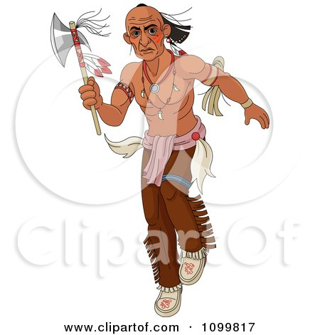 Clipart Native American Man Stalking With A Tomahawk Axe - Royalty Free Vector Illustration by Pushkin