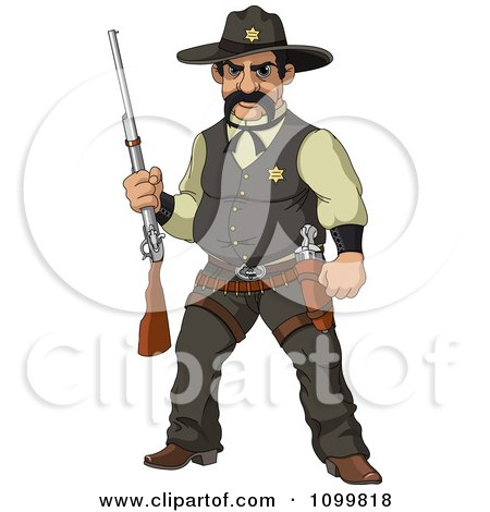 Clipart Wild Western Sheriff Holding A Rifle - Royalty Free Vector Illustration by Pushkin