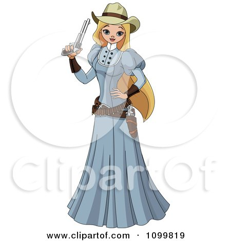 Clipart Blond Wild Western Woman In A Blue Dress Holding A Revolver - Royalty Free Vector Illustration by Pushkin