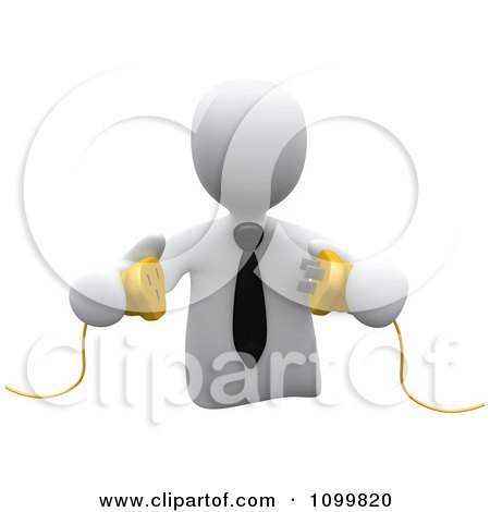 Clipart 3d White Businessman Prepared To Connect Electrical Power Cables - Royalty Free CGI Illustration by 3poD
