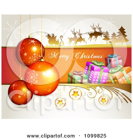 Clipart Merry Christmas Greeting With Santa Flying His Sleigh Babubles Stars And Gift Boxes - Royalty Free Vector Illustration by merlinul