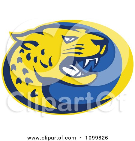 Clipart Yellow And Blue Hissing Jaguar Over An Oval - Royalty Free Vector Illustration by patrimonio