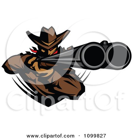 Clipart Western Cowboy Mascot Aiming A Double Barrel Rifle - Royalty Free Vector Illustration by Chromaco