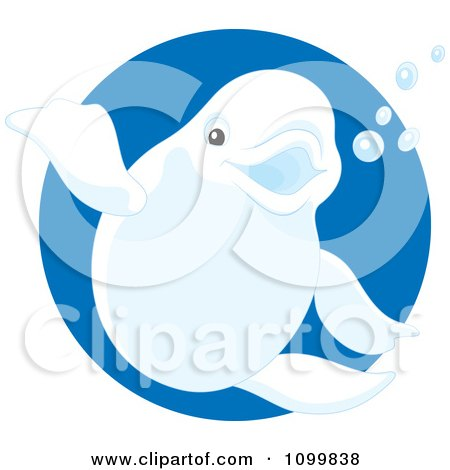 Clipart Cute Beluga Whale Waving And Smiling Over A Blue Circle - Royalty Free Vector Illustration by Alex Bannykh