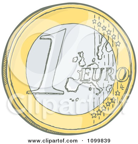 Clipart Sketched 1 Euro Coin - Royalty Free Vector Illustration by Any Vector