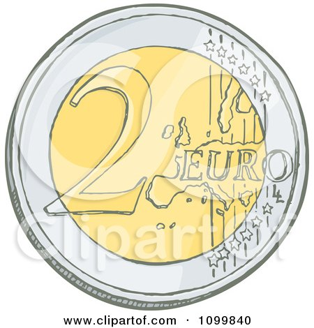 Clipart Sketched 2 Euro Coin - Royalty Free Vector Illustration by Any Vector