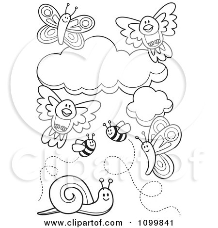 Clipart Outlined Birds Clouds Bees Snails And Butterflies - Royalty Free Vector Illustration by Any Vector
