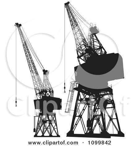 Clipart Black And White Silhouetted Construction Cranes And Platforms - Royalty Free Vector Illustration by Any Vector