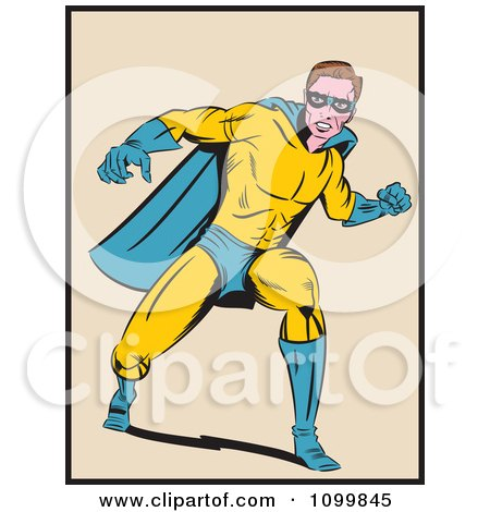Clipart Retro Pop Art Super Hero Man In A Punching Stance - Royalty Free Vector Illustration by brushingup