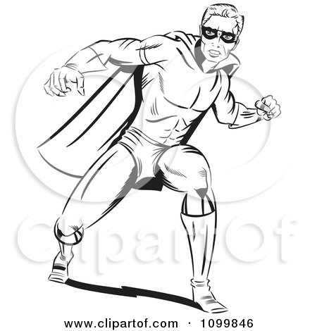 Clipart Retro Black And White Pop Art Super Hero Man In A Punching Stance - Royalty Free Vector Illustration by brushingup