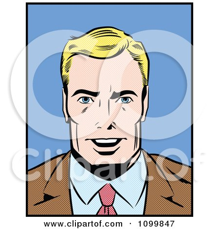 Clipart Retro Blond Pop Art Businessman Smiling - Royalty Free Vector Illustration by brushingup