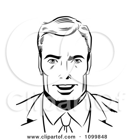 Clipart Retro Black And White Pop Art Businessman Smiling - Royalty Free Vector Illustration by brushingup