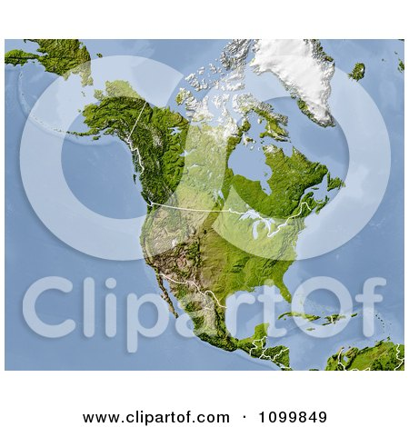 Shaded Relief Map Of North America With The National Borders Posters, Art Prints