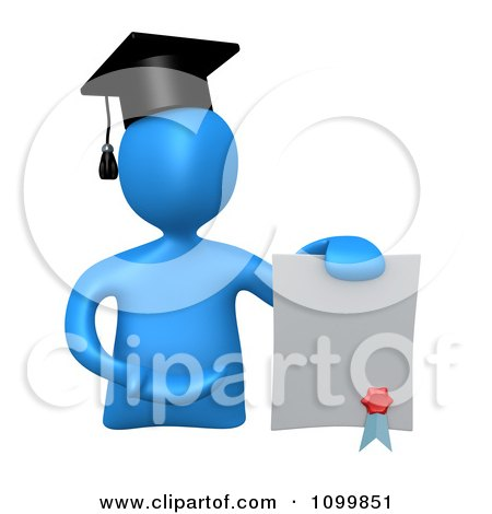 Clipart 3d Blue Graduate Presenting A Diploma - Royalty Free CGI Illustration by 3poD