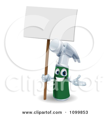 3d Happy Green And Silver Hammer Mascot Holding A Sign Posters, Art Prints