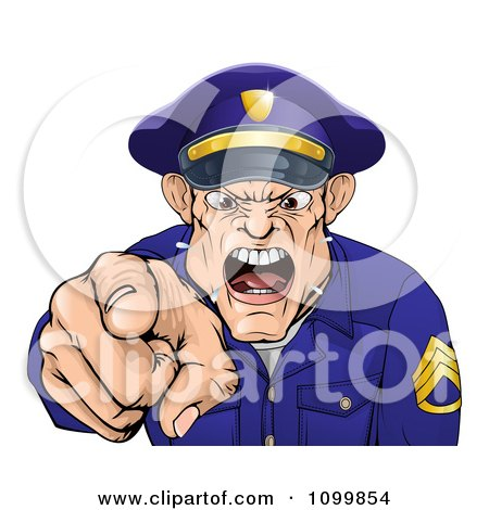 Clipart Mad Police Officer Spitting Shouting And Pointing Outwards - Royalty Free Vector Illustration by AtStockIllustration