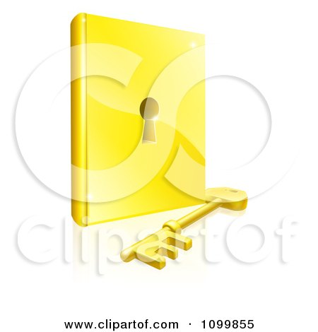 Clipart 3d Gold Skeleton Key Resting In Front Of A Book With A Keyhole In The Center - Royalty Free Vector Illustration by AtStockIllustration