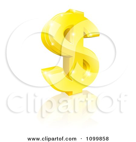 Clipart 3d Sparkling Gold USD Dollar Currency Symbol - Royalty Free Vector Illustration by AtStockIllustration