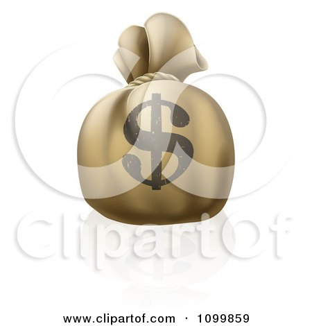 Clipart 3d Bank Money Sack With A Dollar Symbol On The Exterior - Royalty Free Vector Illustration by AtStockIllustration