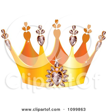 Clipart Golden Queens Crown With Diamond Hearts - Royalty Free Vector Illustration by Pushkin