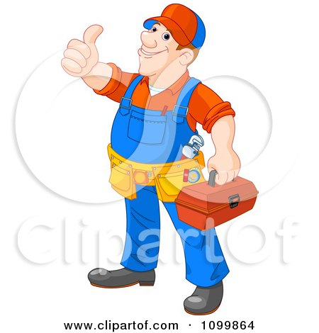 Clipart Happy Plumber Carrying A Tool Box And Holding A Thumb Up - Royalty Free Vector Illustration by Pushkin