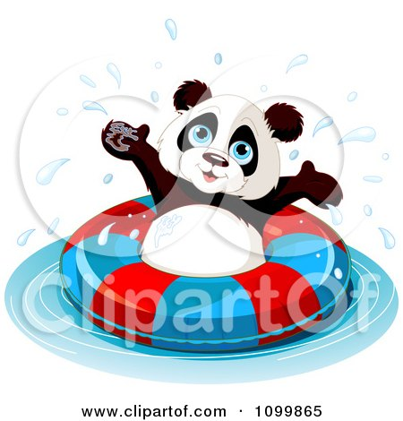Clipart Happy Panda Swimming With An Inner Tube - Royalty Free Vector Illustration by Pushkin