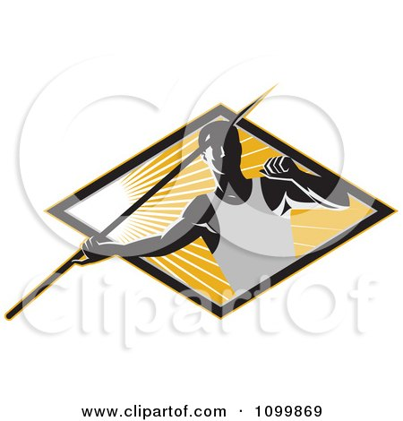 Clipart Retro Track And Field Javelin Trower Holding A Spear Over A Ray Diamond - Royalty Free Vector Illustration by patrimonio