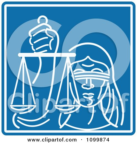 Clipart White Blind Lady Justice Holding Scales Over Blue - Royalty Free Vector Illustration by patrimonio