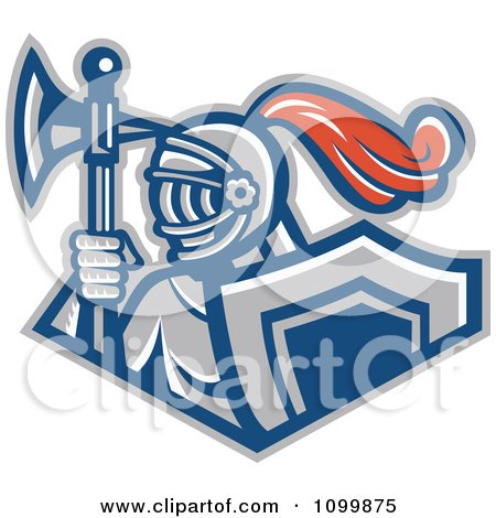 Clipart Retro Knight With A Spear Ax And Shield - Royalty Free Vector Illustration by patrimonio
