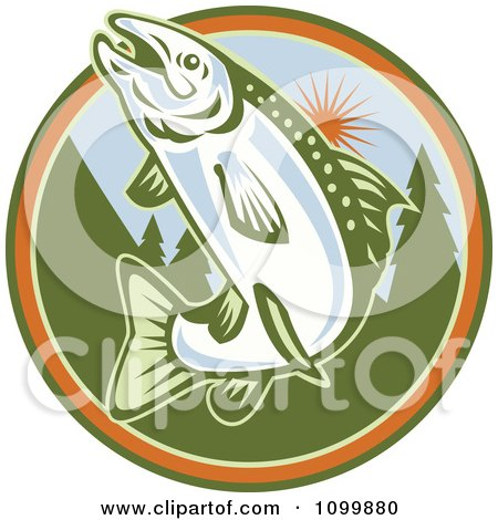 Clipart Retro Jumping Trout Fish Against A Tree And Sun Circle - Royalty Free Vector Illustration by patrimonio